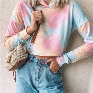 Tops - Hand dyed tie dye cropped hoodie